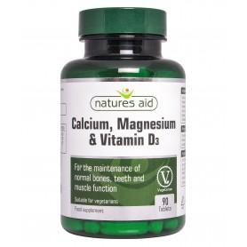 Natures Aid Calciu, Magneziu si Vitamina D3, 90 comprimate