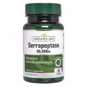 Natures Aid Serrapeptase 80.000iu, 30 comprimate filnate gastrorezistente