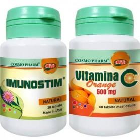 Imunostim 30tbl + Vitamina C Portocale 60tbl Cosmo Pharm