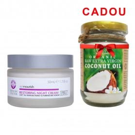 Crema regeneranta de noapte Manuka Doctor Apinourish 50ml + Ulei de Cocos Jeeva Raw organic extra virgin, 200ml Cadou