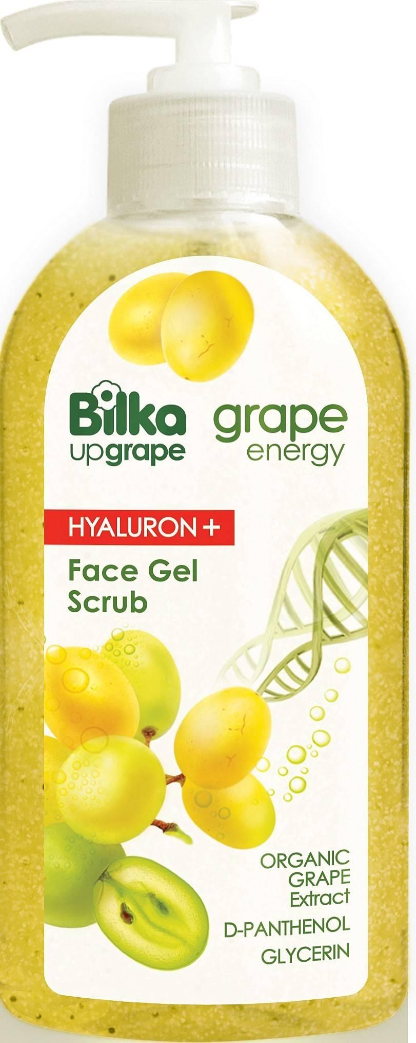 gel scrub pentru fata cu ulei de struguri albi, hyaluron+ 200 ml bilka