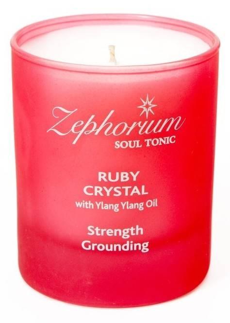 lumanare cu cristale de rubin si cu ylang ylang - chakra 1 radacina muladhara