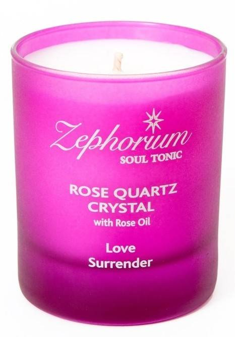 lumanare cu cristale de cuart roz si ulei de trandafir - chakra 4 anahata