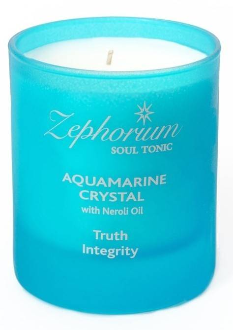 Lumanare Parfumata cu Ulei de Neroli si Cristale de Acvamarin Zephorium