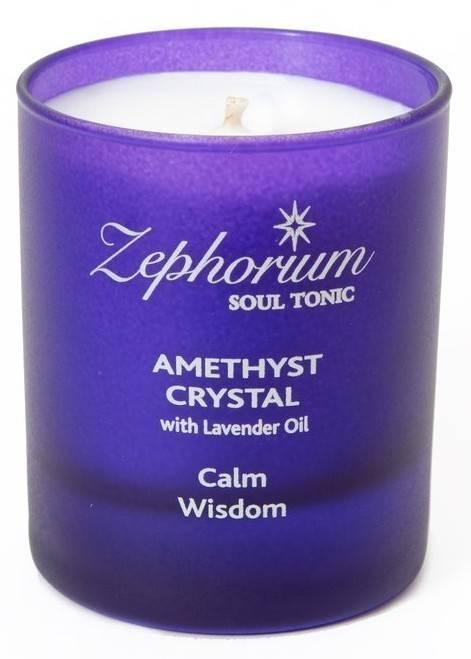 lumanare cu cristale de ametist si ulei de lavanda - chakra 7 sahasrara