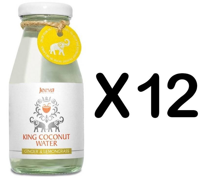 set 12 sticle apa de nuca de cocos ghimbir si lamaie verde 200ml jeeva