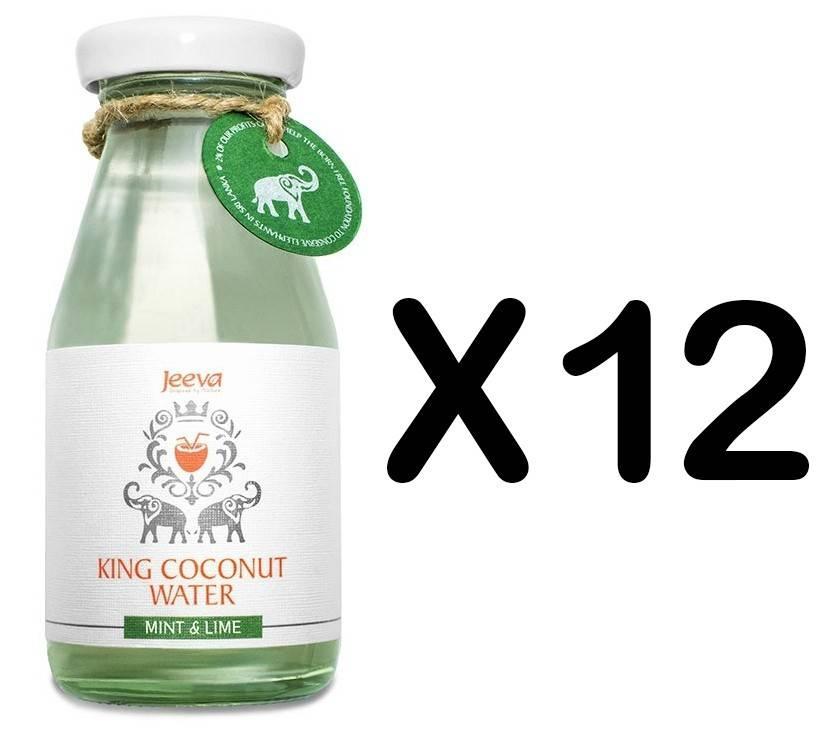 set 12 sticle apa de nuca de cocos menta si lamaie 200ml jeeva
