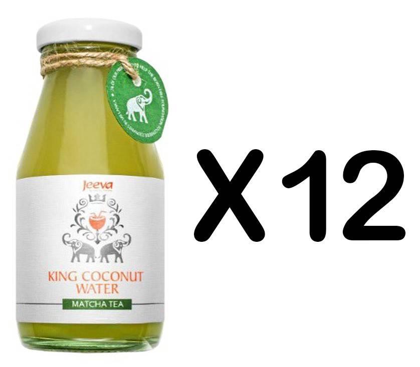 set 12 sticle apa de nuca de cocos cu ceai matcha 200ml jeeva