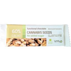 Ciocolata functionala  cu seminte de canabis (60% cacao) 25g