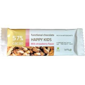 Ciocolata functionala happy kids cu lapte si aroma de capsuni (57% cacao) 25g