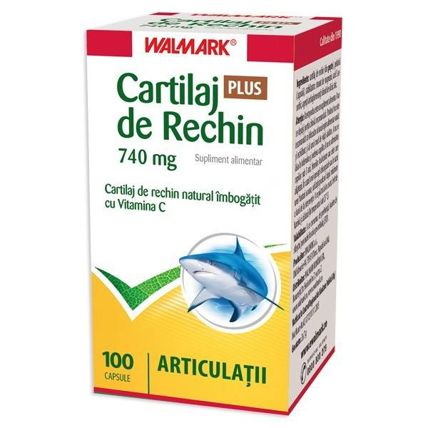 CARTILAJ DE RECHIN, CU VITAMINA C 740MG, 100CPS