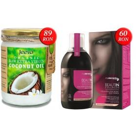 Ulei de Cocos 500ml Raw Organic Extra Virgin + BEAUTIN COLAGEN LICHID CU CAPSUNI SI VANILIE 500ML