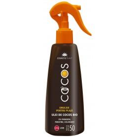 Emulsie Spray plaja COCOS SPF 50 cu ulei de cocos bio (200 ml)