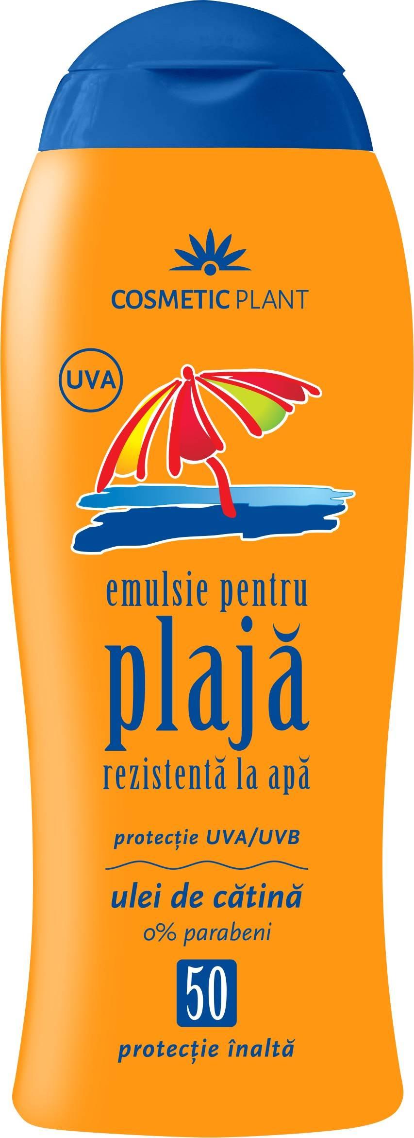 Emulsie pentru plaja rezistenta la apa SPF 50 cu ulei de catina 200 ml