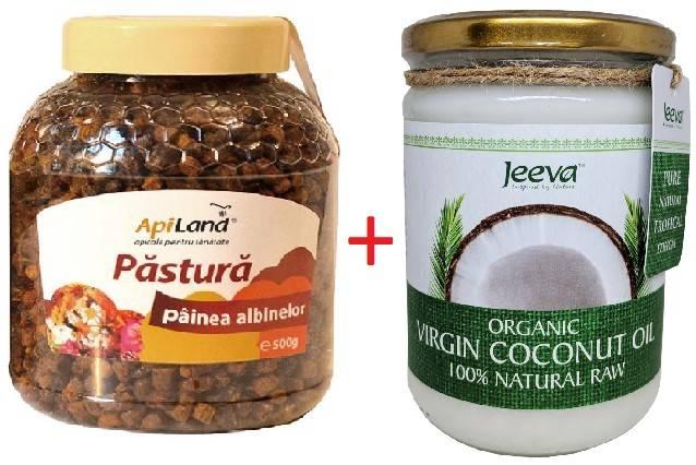 pastura 500 g apiland + ulei de cocos 500ml raw organic extra virgin