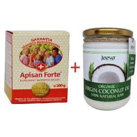 Apisan forte 300g + Ulei de Cocos 500ml Raw Organic Extra Virgin