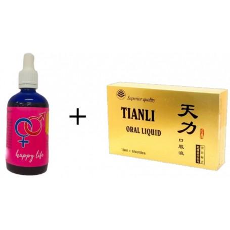 Pachet Tianli 6 fiole capac auriu + Happy Life (un produs destinat  femeilor)