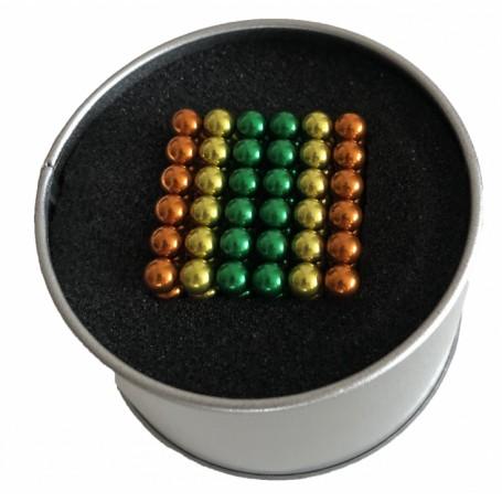 Puzzle Neocube Bile Magnetice 216 bucati cu diametrul de 5 mm, Tricolore Verde Portocaliu Galben