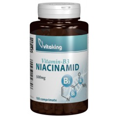 Vitamina B3, Niacinamida, 500mg, Vitaking, 100 Cpr