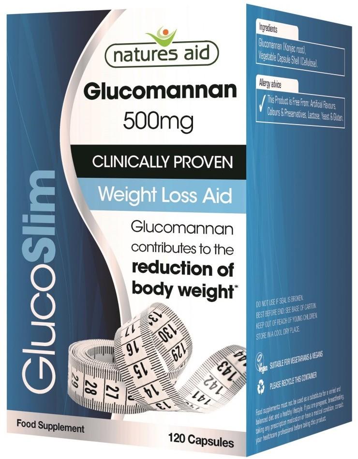 glucoslim (glucomannan 500 mg), 120 capsule natures aid