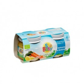 SunBaby Piure Bio cu somon si legume 2x 80 gr