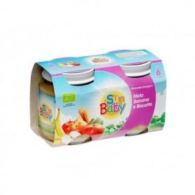 SunBaby Piure Bio cu mere, banane si biscuiti 2x120 gr