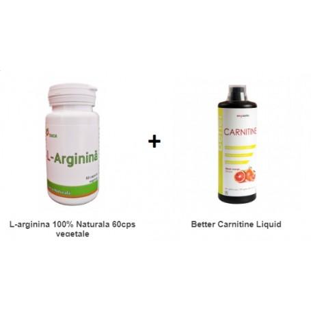 Pachet L-Arginina 100% Naturala 60cps vegetale + Better Carnitine Liquid