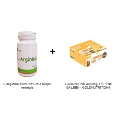 Pachet L-arginina 100% Naturala 60cps vegetale + L-CARNITINA 3000mg, PEPENE GALBEN - GOLDNUTRITION