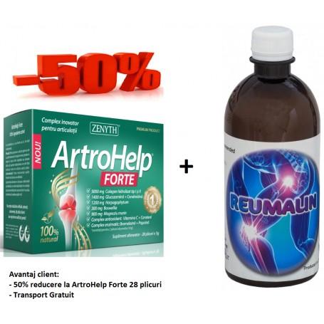Artrohelp Forte 28 DZ + Reumalin 500 ML (calmeaza durerile)