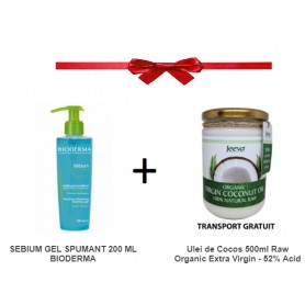 SEBIUM GEL SPUMANT 200 ML BIODERMA + Ulei de Cocos 500ml Raw Organic Extra Virgin - 52% Acid Lauric si Certificat Kosher