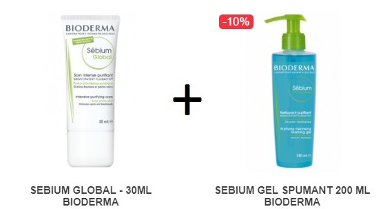 Pachet SEBIUM GLOBAL - 30ML + SEBIUM GEL SPUMANT 200 ML BIODERMA