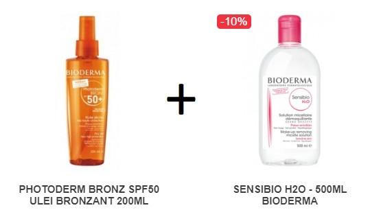 Pachet PHOTODERM BRONZ SPF50 ULEI BRONZANT 200ML + SENSIBIO H2O - 500ML BIODERMA