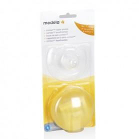 Contact - 2Tetine Silicon (M) Protectie Mamelon + Cutie