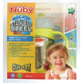 "Nuby Thermos Pahar Stop Picatura Si Manere ""Click-Lock"" 220Ml +6"