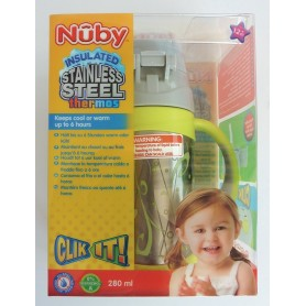 "Nuby Thermos Pahar Cu Pai Si Manere ""Click-Lock"" 280Ml +12"