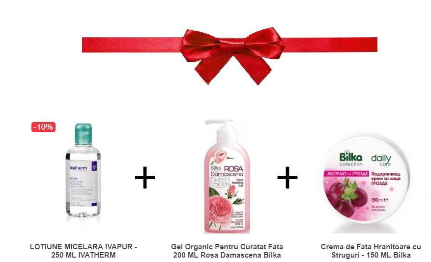 pachet lotiune micelara - 250 ml + gel organic pentru curatat fata 200 ml + crema de fata hranitoare cu struguri - 150 ml