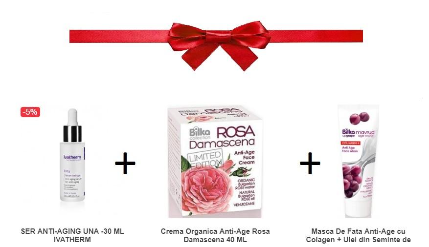 Pachet Ser Anti-aging + Crema Organica Anti-age + Masca De Fata Anti-age Cu Colagen