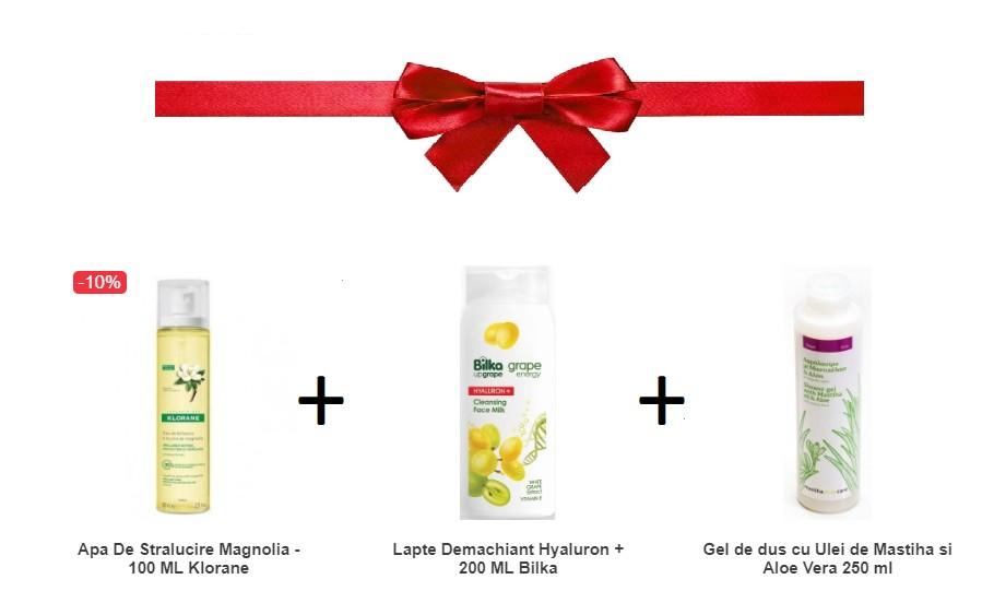 Pachet Apa De Stralucire Magnolia + Lapte Demachiant Hyaluron + Gel de dus cu Ulei de Mastiha si Aloe Vera