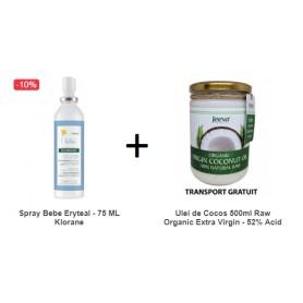 Spray Bebe Eryteal - 75 ML Klorane + Ulei de Cocos 500ml Raw Organic Extra Virgin - 52% Acid Lauric si Certificat Kosher