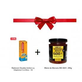 Pachet Redoxon Double Action cu Vitamina C si Zinc - 10 Comprimate Efervescente + Miere de Manuka MG 600+, 250g