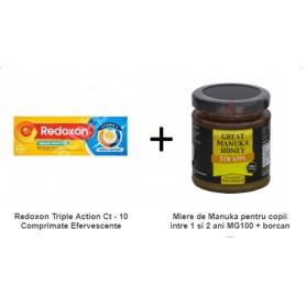 Pachet Redoxon Triple Action Ct - 10 Comprimate Efervescente + Miere de Manuka pentru copii intre 1 si 2 ani MG100 + 250g