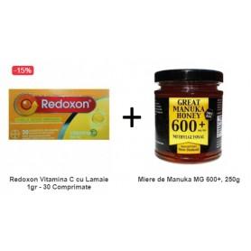 Pachet Redoxon Vitamina C cu Lamaie 1gr - 30 Comprimate Efervescente + Miere de Manuka MG 600+, 250g