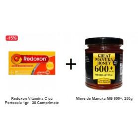 Pachet Redoxon Vitamina C cu Portocala 1gr - 30 Comprimate Efervescente + Miere de Manuka MG 600+, 250g
