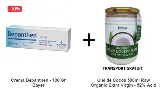 Pachet Crema Bepanthen - 100 Gr Bayer + Ulei de Cocos 500ml Raw Organic Extra Virgin - 52% Acid Lauric si Certificat Kosher