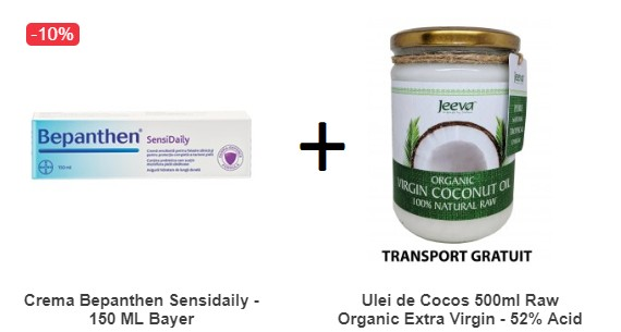Pachet Crema Bepanthen Sensidaily - 150 ML + Ulei de Cocos 500ml Raw Organic Extra Virgin - 52% Acid Lauric si Certificat Kosher