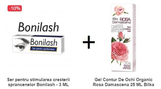 pachet ser pentru cresterea sprancenelor bonilash + gel contur de ochi organic bilka