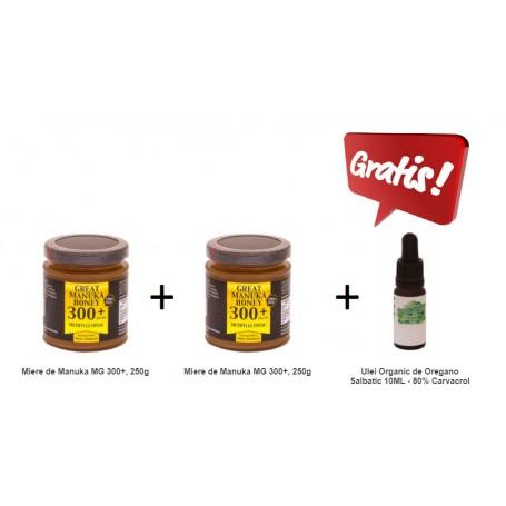 Pachet 2X Miere de Manuka MG 300+, 250g + Ulei Organic de Oregano Salbatic 10ML - 80% Carvacrol CADOU pret ieftin