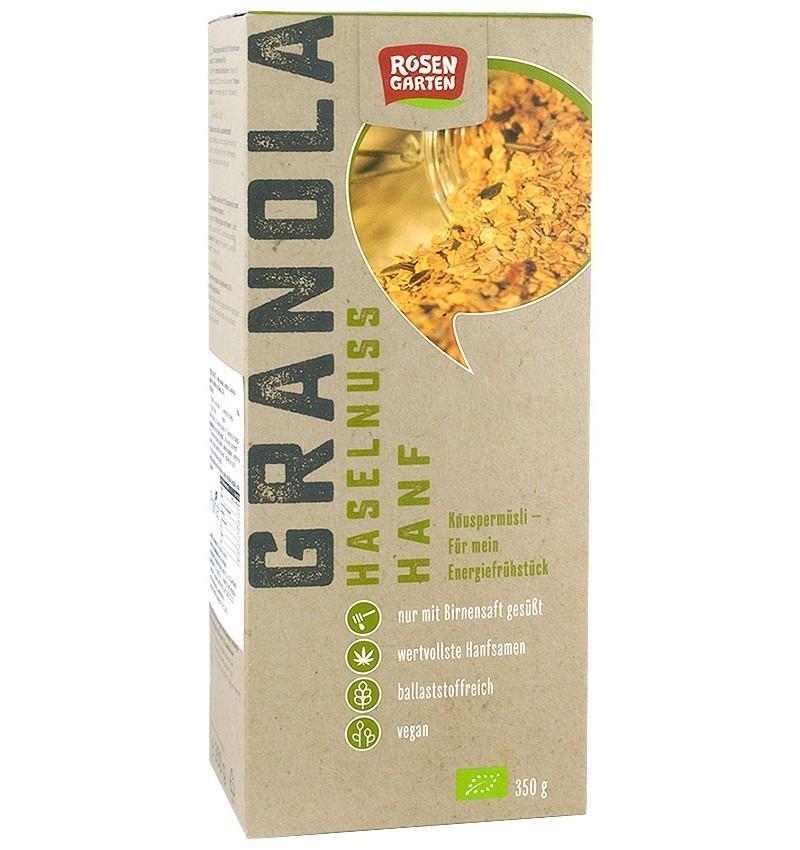 rosen garten – musli bio granola cu alune de padure si seminte de canepa, 350 g