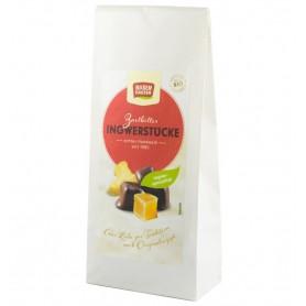 Bucati Bio de Ghimbir invelite in Ciocolata Neagra Rosen Garten - 80 g