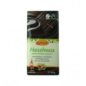 BIRKENGOLD - Ciocolata neagra cu alune fara adaos de zahar 55% cacao, 100 g